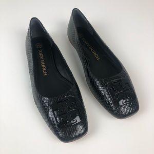 Tory Burch Georgia Ballet Flat Snakeskin 9 black